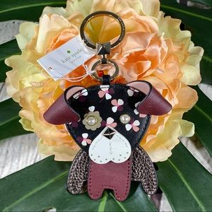 NWT! Kate Spade Floral Pup Keychain